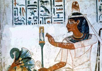 Amenemope enjoying his perfume cone.
