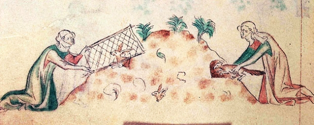 Women catching rabbits with ferrets and nets, from the Queen Mary Psalter, ca 1310-1320. (Source) http://en.wikipedia.org/wiki/File:Women_hunting_rabbits_with_a_ferret.jpg